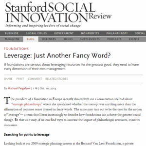 Leverage: Just Another Fancy Word? - blog - bernard van Leer foundation - Michael Feigelson
